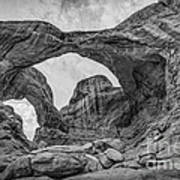 Double Arches Bw Poster