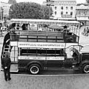 Double Decker Bus Main Street Disneyland Bw Poster