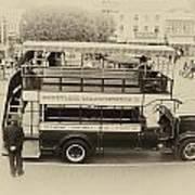 Double Decker Bus Main Street Disneyland Heirloom Poster