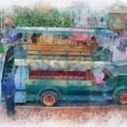 Double Decker Bus Main Street Disneyland Photo Art 01 Poster