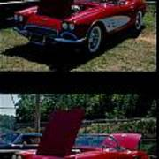 Double Red Corvette Poster