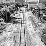 Down The Tracks - Downtown Miami - Black And White Poster by Ian Monk