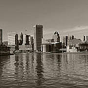 Downtown Baltimore Skyline Sepia Poster
