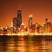 Downtown Chicago At Night With Chicago Skyline Poster by Paul Velgos
