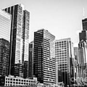 Downtown Chicago Buildings In Black And White Poster