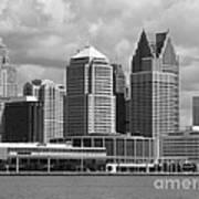 Downtown Detroit Riverfront Bw Poster