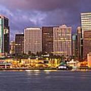 Downtown Honolulu Hawaii Dusk Skyline Poster