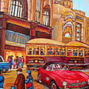Downtown Montreal-streetcars-couple Near Red Fifties Mustang-montreal Vintage Street Scene Poster