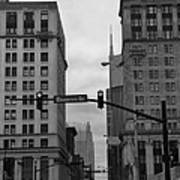 Downtown Nashville In Black And White Poster by Dan Sproul
