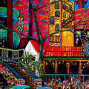 Downtown On The River Poster by Patti Schermerhorn