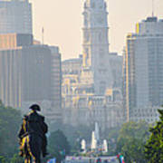 Downtown Philadelphia - Benjamin Franklin Parkway Poster by Bill Cannon