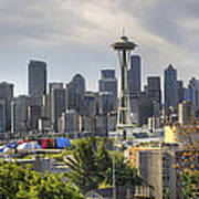 Downtown Seattle Skyline With Mount Rainier Poster