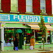 Dozen Red Roses Boutique Fleuriste Coin Vert Notre Dame Street Scene Montreal Art Carole Spandau Poster