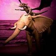 Dragon Riding Elephant Poster