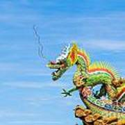 Dragon Sculpture On  Roof Poster