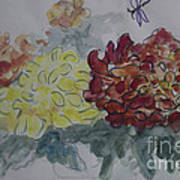 Dragonfly Among Chrysanthemums Poster