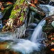 Dragons Teeth Icicles Waterfall Great Smoky Mountains Painted  Poster