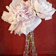 Dramatic Peonies Over Red Poster