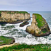 Dramatic View Of Shark Fin Cove In Santa Cruz California. Poster