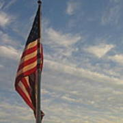 Draped American Flag Pole Dusk  Casa Grande Arizona 2004 Poster
