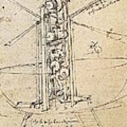 Drawing By Leonardo Da Vinci.. Flying Poster