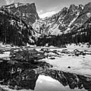 Dream Lake Reflection Black And White Poster