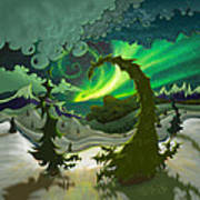 Dream Landscapes Aurora Green Poster