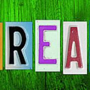 Dream License Plate Letter Vintage Phrase Artwork On Green Poster by Design Turnpike