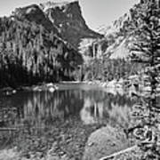 Dreaming At Dream Lake - Black And White Poster
