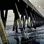 Dreamy Haunting Ocean Coastal Pier With Stars And Birds Poster by Kathy Fornal