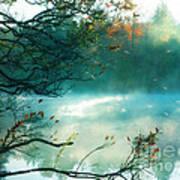 Dreamy Nature Aqua Teal Fog Pond Landscape Poster by Kathy Fornal