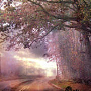 Dreamy Pink Nature Landscape - Surreal Foggy Scenic Drive Nature Tree Landscape  Poster