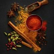 Dried Spices On Black Slate Poster