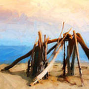 Driftwood Sculpture At Rincon Poster by Ron Regalado