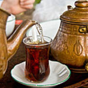 Drinking Traditional Turkish Tea Poster