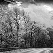 Drive Through The Mountains Bw Poster