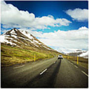 Driving in Iceland - road and mountain landscape Poster