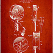 Droop Hand  Drum Patent Drawing From 1892 - Red Poster