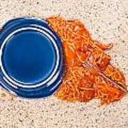 Dropped Plate Of Spaghetti On Carpet Poster