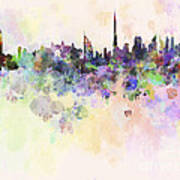 Dubai Skyline In Watercolour Background Poster