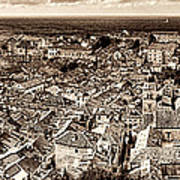 Dubrovnik Rooftops And Lokrum Island Against The Dalmatian Adriatic Sepia Poster