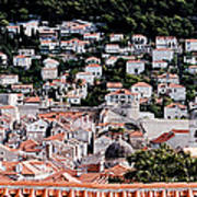 Dubrovnik Rooftops Domes And North East Walls Against The Mountains From The Sea Walls Poster