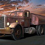 Duel Truck With Trailer Poster by Stuart Swartz