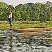 Dugout Canoe In The Rapti River In Chitin National Park-nepal Poster