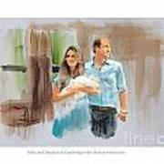 Duke And Duchess Of Cambridge With Their New Son Poster