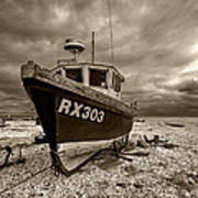 Dungeness Boat Under Stormy Skies Poster