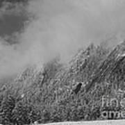 Dusted Flatirons Low Clouds Boulder Colorado Bw Poster