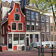 Dutch Style Traditional Houses In Amsterdam Poster