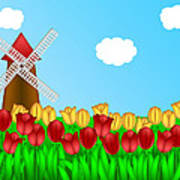 Dutch Windmill In Tulips Field Farm Illustration Poster