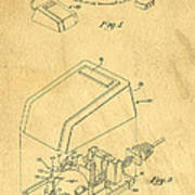 Early Computer Mouse Patent Yellowed Paper Poster